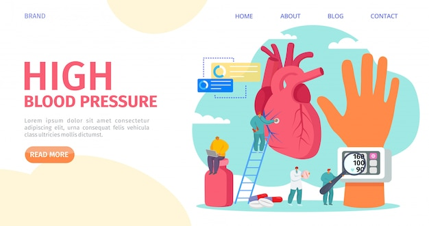 High blood pressure measuring, landing   illustration. cardiology disease, tonometer medical equipment. doctor hypertension