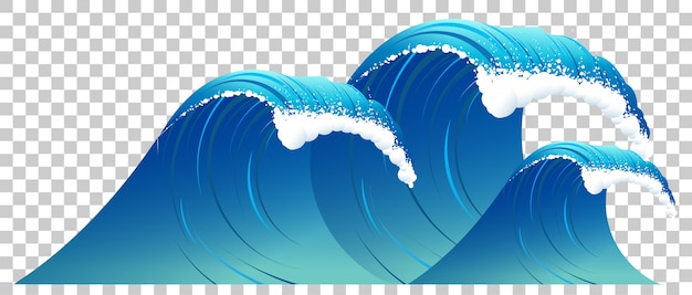 High blue wave with white foam isolated. clear water on transparent background