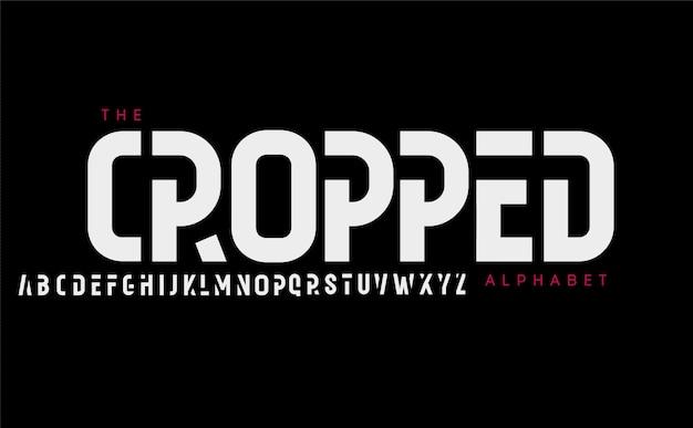 높은 잘린 알파벳 기하학적 유형 현대적인 키가 큰 글자는 현대를 위한 굵은 좁은 글꼴로 읽을 수 있습니다.