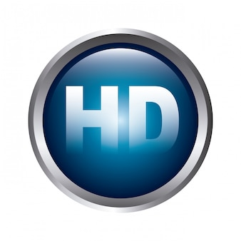 High definition button over gray background vector illustration