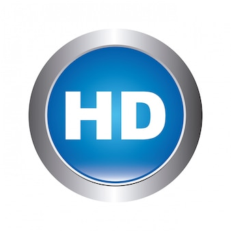 High definition button over white background vector illustration
