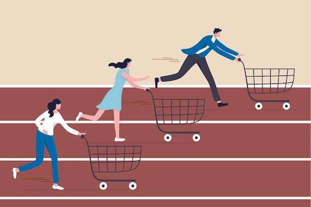 Товары с высоким спросом, веб-сайт со скидками для электронной коммерции в сезон распродаж или маркетинговая кампания, привлекающая клиентов к покупке концепции продукта, люди-потребители с тележкой для покупок соревнуются в беге по гоночным трассам.