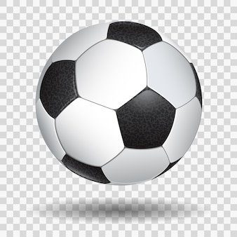 High detailed realistic soccer ball on transparent background