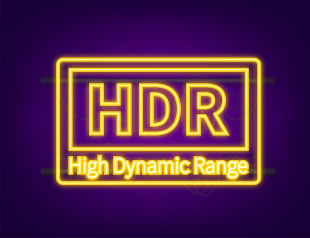 High dynamic range imaging, high definition. hdr. neon icon. vector illustration.
