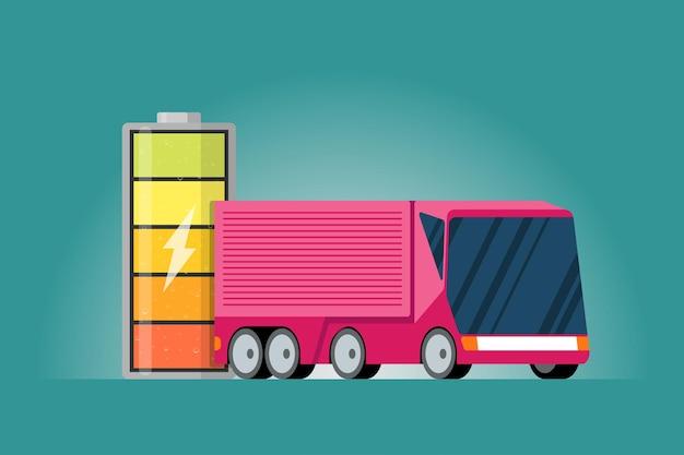 번개 아이콘과 분홍색 전기 트럭이 있는 고 전력 배터리 충전 에너지 표시기