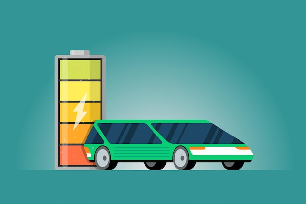 High electric power battery charged energy indicator with lightning icon and green electric car