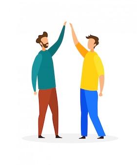 Друзья, дающие high five flat