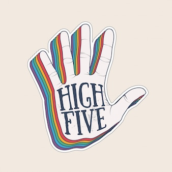 High five hand palm silhouette with vintage styled rainbow shadow sticker design template. illustration