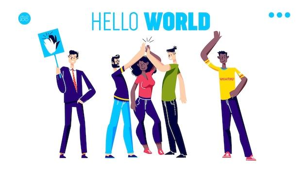 Дизайн целевой страницы «дай пять» с приветствиями и аплодисментами разных людей.