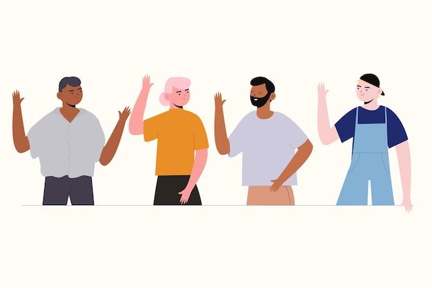 High-five для успешных молодых людей