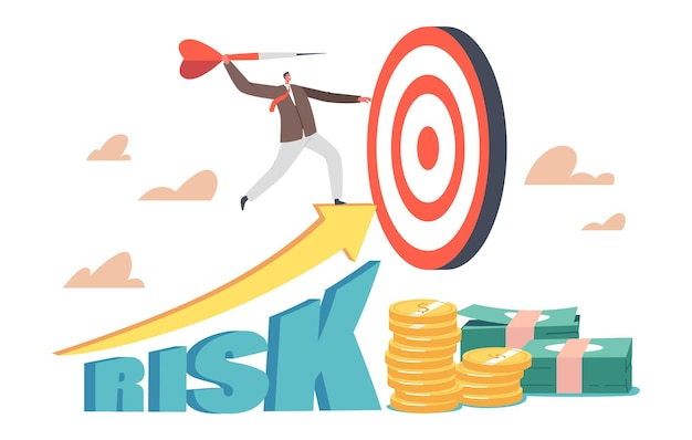 高成長リスクの概念。ビジネスマンの使命の達成と企業の競争。小さなビジネスマンのキャラクターがターゲットに巨大なダーツを投げます。目的、挑戦、タスク、そして目標。漫画のベクトル図