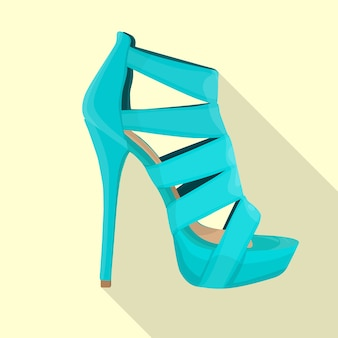 High heels sandals woman flat isolated vector