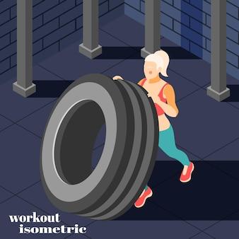 Illustrazione isometrica di allenamento fitness allenamento efficace ad alta intensità