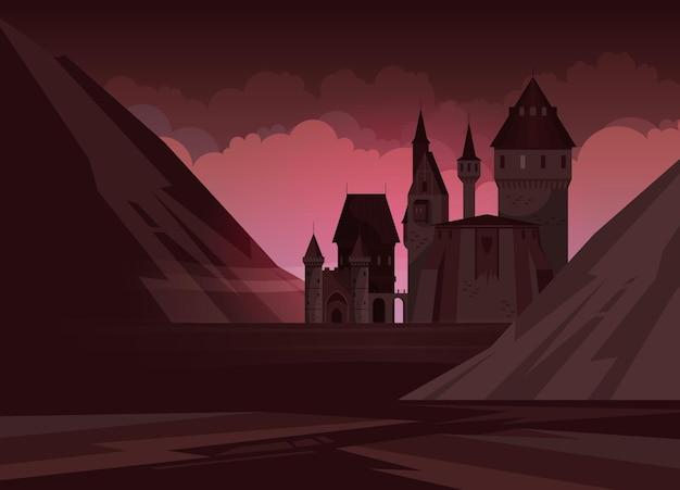 Высокий средневековый каменный замок с башнями в горах ночью плоская иллюстрация