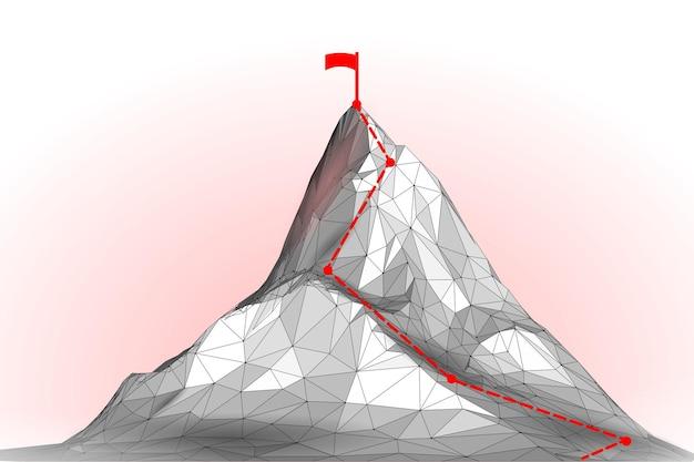 High mountain peak d landscape technology structure grid abstract goal reaching business success tea...