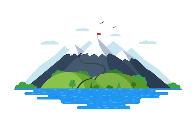 Высокая гора с зелеными холмами, лесом и синим озером, природа пейзаж векторные иллюстрации. маршрут для альпинистов к вершине скалы и красный флаг на вершине скалы