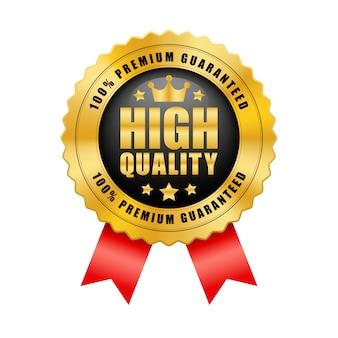 高品質の100%プレミアム保証クラウンと5つ星のブラックとゴールドのバッジ、赤いリボンの光沢のあるメタリックロゴのヴィンテージ