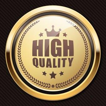 高品質のバッジブロンド光沢のあるゴールドメタリックの高級ロゴ