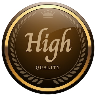 高品質のバッジ光沢のあるブラウンメタリックゴールドローレルリースクラウンラウンドロゴ