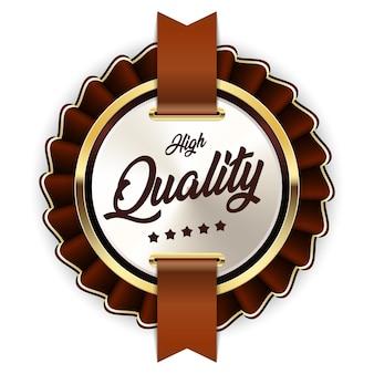 高品質のバッジリボンゴールドシルバーブラウンメタリックラグジュアリーロゴ