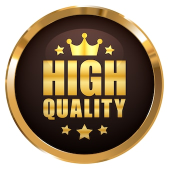 High quality badge with crown and 5 stars gold glossy metallic