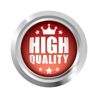 高品質の王冠と5つ星のバッジロゴ赤い光沢のあるシルバーメタリック