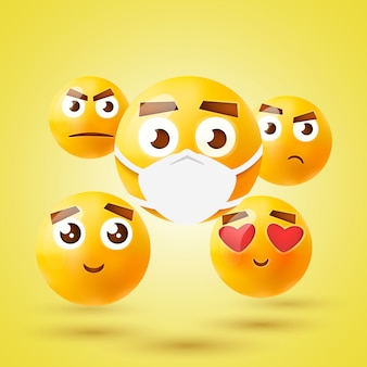 High quality emoticon 3d icon set. emoji with medical mask.