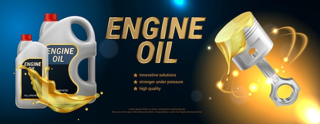 High quality engine oil horizontal  header with description of properties realistic