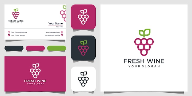 High quality flat style icon illustration of grapes symbol isolated