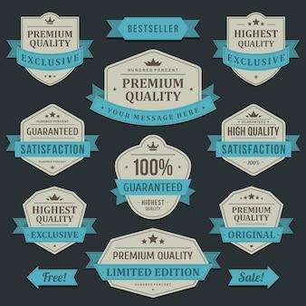 고품질 상품 라벨. 파란색 포장 리본 최고의 독점 할인 빈티지 오래된 회사.