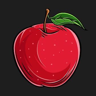 高品質の手描きの新鮮なリンゴの果実、影と光、水滴と新鮮な食べ物