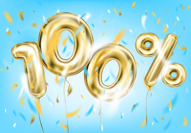 High quality image of gold balloon hundred percent
