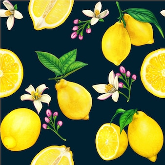 High quality lemon watercolor seamless pattern with fruits and flowers