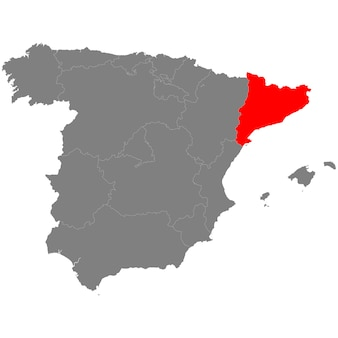 High quality map of spain with borderrs of catalonia