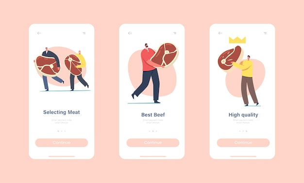 High quality meat mobile app page onboard screen template. tiny characters with huge beef or pork steak, butchery production, people buying or preparing fresh meat concept. cartoon vector illustration