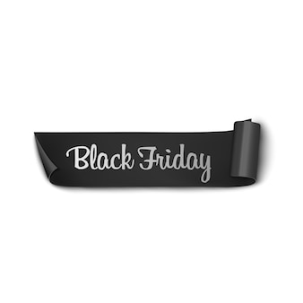 High quality realistic black ribbon with text black friday