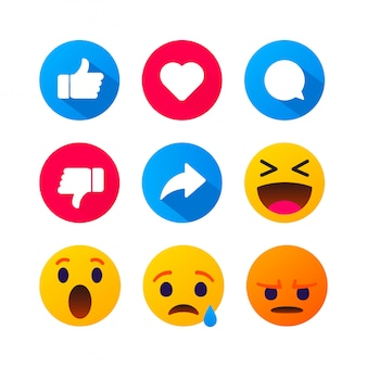 High quality  round yellow cartoon bubble emoticons comment social media. chat comment reactions, icon template face tear, smile, sad, love, like, lol, laughter emoji character message