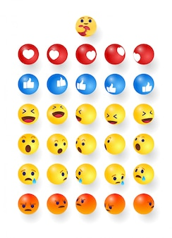 High quality set round cartoon bubble emoji emoticons for social media reactions