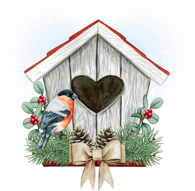 High quality watercolor birdhouse with bullfinch