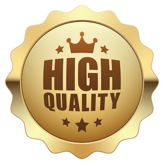 高品質の王冠と5つ星のシンボルバッジゴールドメタリック