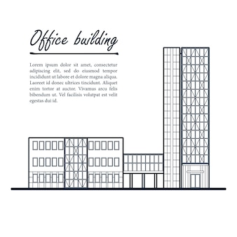 High-rise office building. business center. dark blue outline drawing on white