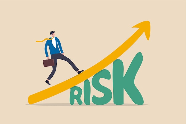 High risk high return stock market investment, trade off of risky investment asset rewarding growth return concept, confident smart investor walking on grow up stock market graph above the word risk.