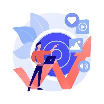 높은 roi 콘텐츠 추상 개념 벡터 일러스트 레이 션. 소셜 미디어 마케팅, 온라인 콘텐츠 제작, 높은 roi 출판, 투자 수익 측정, 디지털 전략 추상 은유.