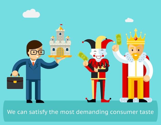 高い売上高と満足した顧客のビジネスコンセプト。マーケティングと成功、幸せなクライアント。ベクトルイラスト