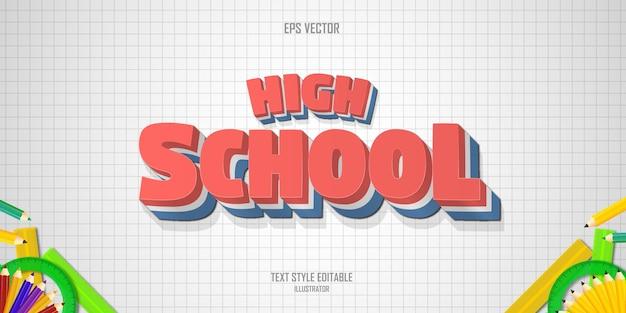 High school 3d text style effect