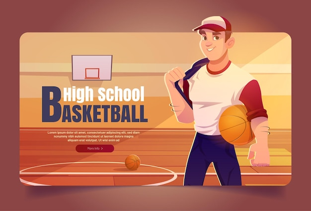 Sportivo dell'insegna di web del fumetto di pallacanestro del liceo in uniforme della squadra che tiene la palla sul backgr della palestra...
