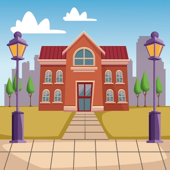 High school building cartoon
