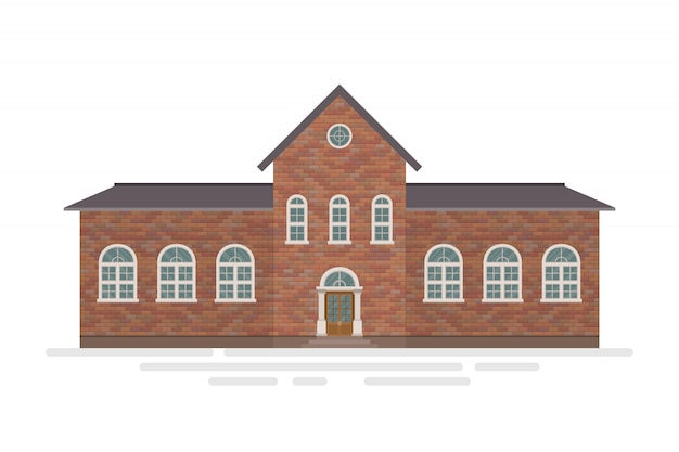 High school building illustration isolated on white