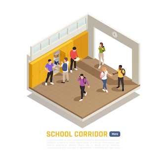 高校の廊下のイラスト