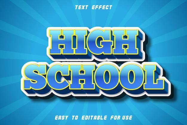 High school editable text effect emboss modern style